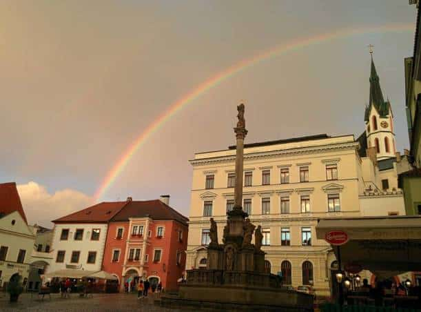 Double rainbow of Cesky Krumlov in Czech Republic