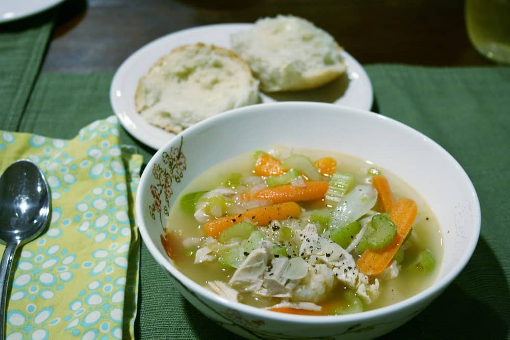 This ultra simple turkey, rice and vegetable soup effectively uses up Thanksgiving leftovers in a delicious way that can also be frozen for future use!