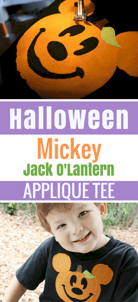 Instructions for Halloween DIY Disney Mickey Pumpkin Appliqued Tee
