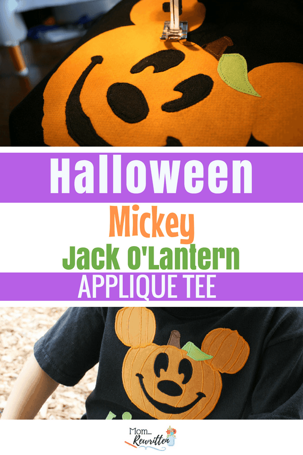 Anyone with a sewing machine can create this Halloween DIY Disney Mickey pumpkin appliqued tee! Click through for the easy instructions #Halloween #Disney #Mickey #MickeyMouse #Pumpkin #JackOLantern #Applique #Tshirt #MNSSHP #DisneyBound