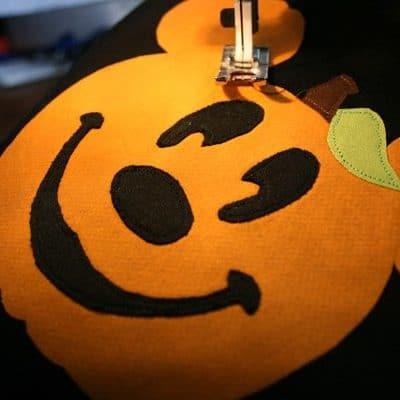 Halloween DIY Disney Mickey Pumpkin Appliqued Tee