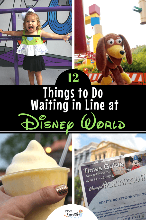 Waiting in line at Disney can't always be avoided but here are 12 constructive ways to spend the time in queue that will entertain and occupy your family (lots of ideas for keeping toddlers and kids busy in line at the Disneyland and Walt Disney World parks!) #Disneyland #DisneyVacation #DisneyWorld #Disney #DisneyParks #TravelwithKids #FamilyTravel #Travel #Vacation