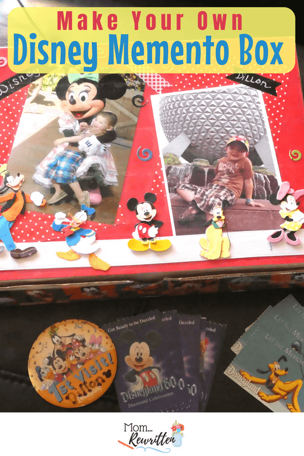 Craft your own DIY Disney memento box to store small treasures from your Disneyland and Disney World family vacations! #Disney #Craft #DisneyCraft #DIY #DisneyDIY #Souvenir #Keepsakes #Mementos