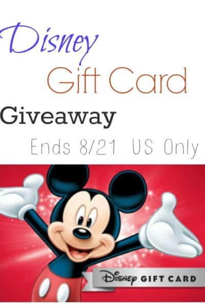 Disney Gift Card Giveaway! (ends Aug 21st, 2016)
