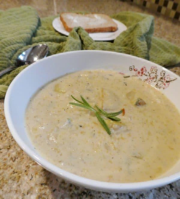 Guilt-free Roasted Garlic and Rosemary Potato Soup Recipe