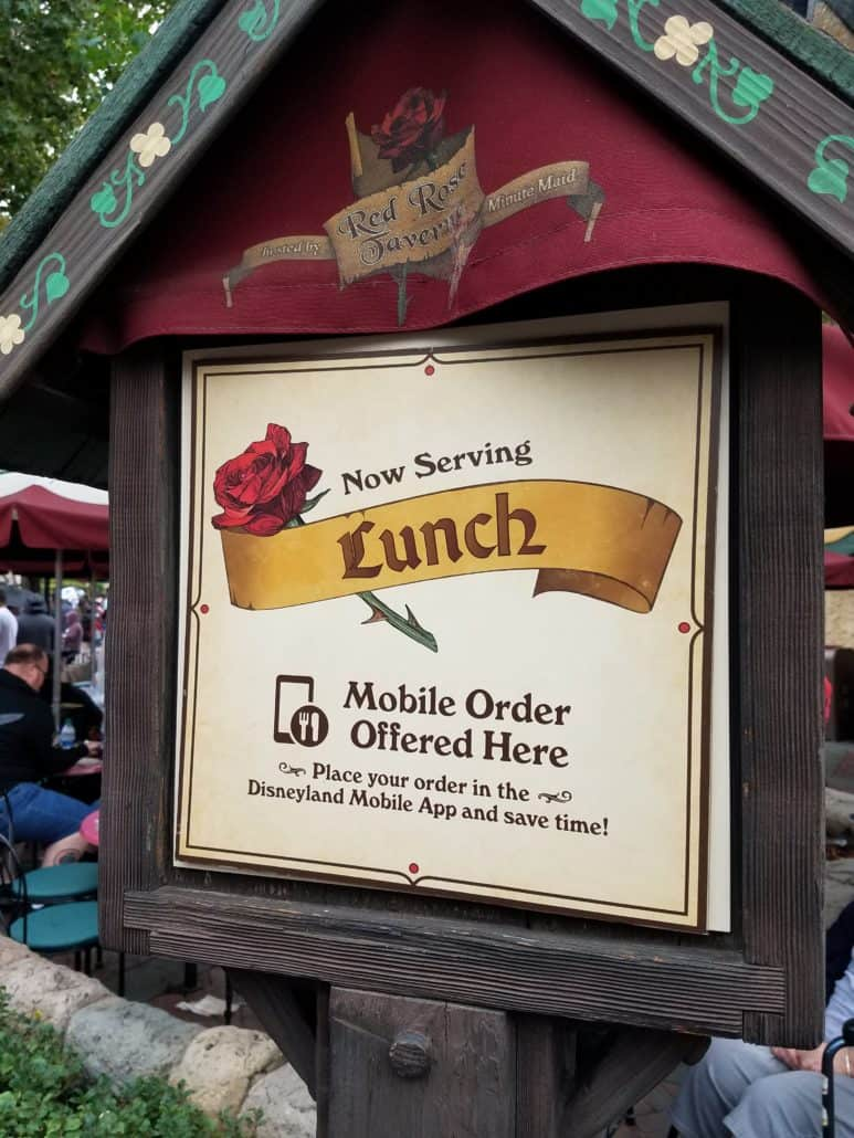 Disneyland mobile ordering sign