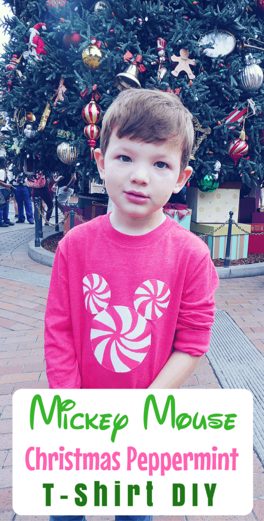 30 minutes to craft this quick & easy Mickey Mouse Christmas peppermint t-shirt DIY!