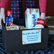 Want to make a sick friend feel better immediately? Make them a get well gift box with all these sick day essentials! #SickDaySolutions #ad
