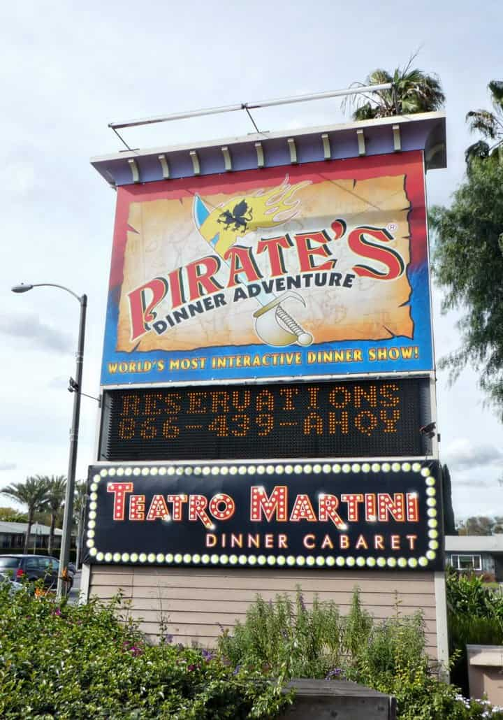 Pirate's Dinner Adventure in Buena Park road sign