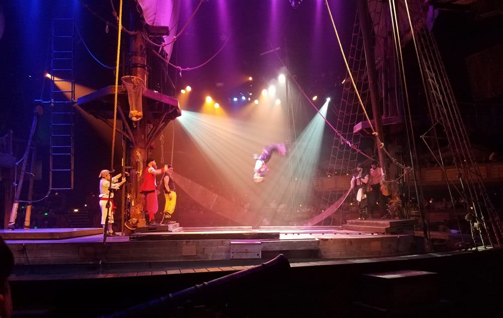 Pirate's Dinner Adventure in Buena Park acrobats on pirate ship trampolines