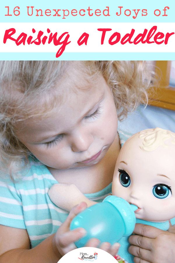 """Raising toddlers isn't only about diffusing temper tantrums and getting through the """"Terrible Twos""""! Positive parenting includes looking on the positive side and reveling in the unexpected joys in raising a toddler including newfound independence, silly giggles and increased vocabulary. AD"""