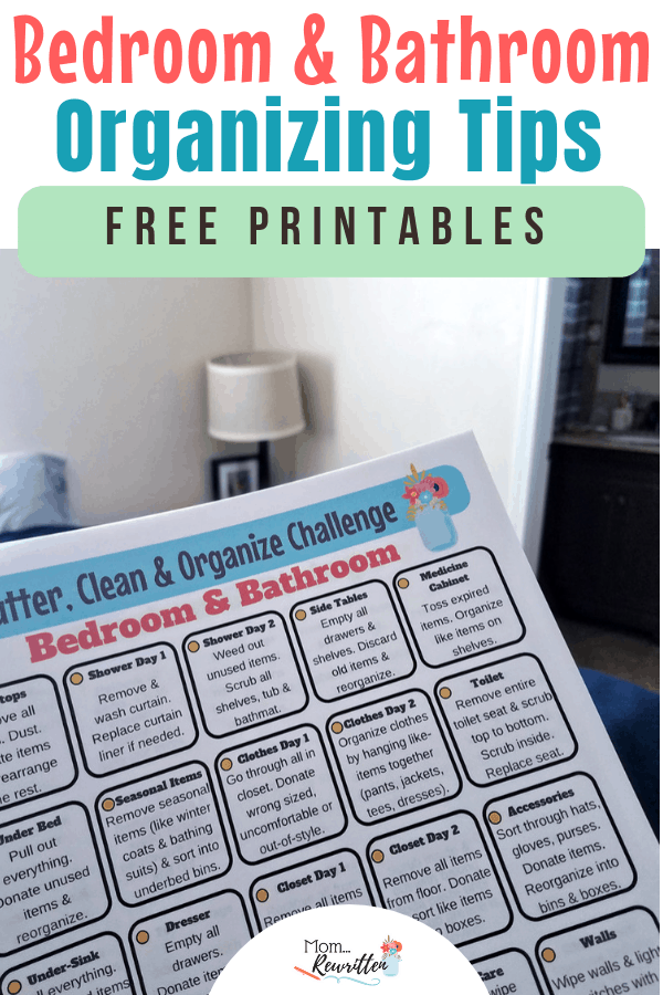 Looking for the best way to declutter, get organized and clean your bedroom and bathroom? These are easy decluttering tips with FREE printables to keep you on task! Find out how to declutter your bathroom, clear out closets and have the cleanest bathroom. No need to get overwhelmed with housework with the practical advice and printable for deep cleaning! #Organization #Housekeeping #Decluttering | Clean House | Organized House | Declutter Your Home