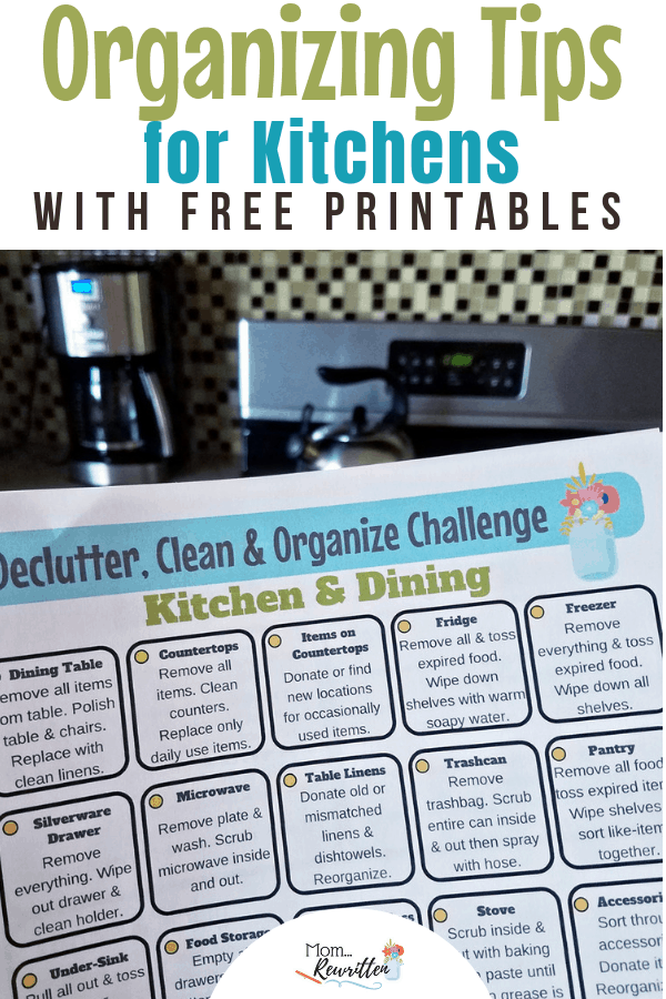 Looking for the best way to declutter, get organized and clean your kitchen and dining room? These are easy decluttering tips with FREE printables to keep you on task! Find out how to declutter your drawers, best organize your kitchen, clear out cupboards and have the cleanest countertops. No need to get overwhelmed with housework with the practical advice and printable for deep cleaning! #Organization #Housekeeping #Decluttering | Clean House | Organized House | Declutter Your Home